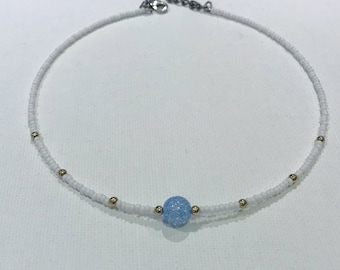 White Choker with Blue Bead