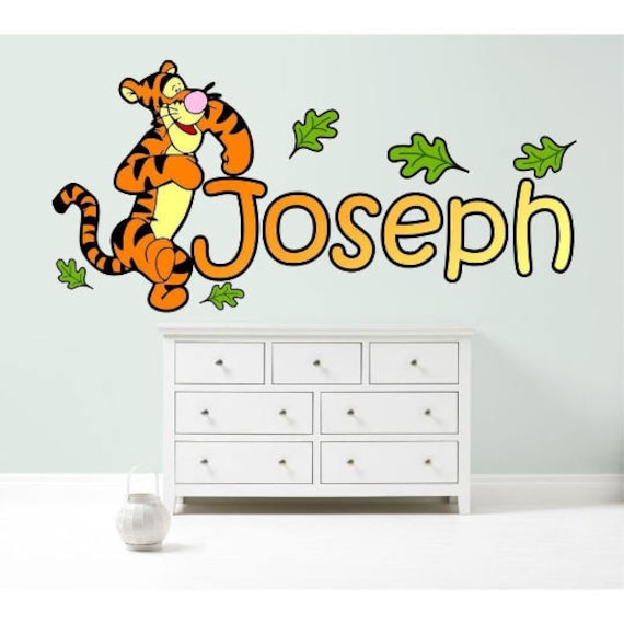 tigger winnie the pooh personalised wall sticker | etsy