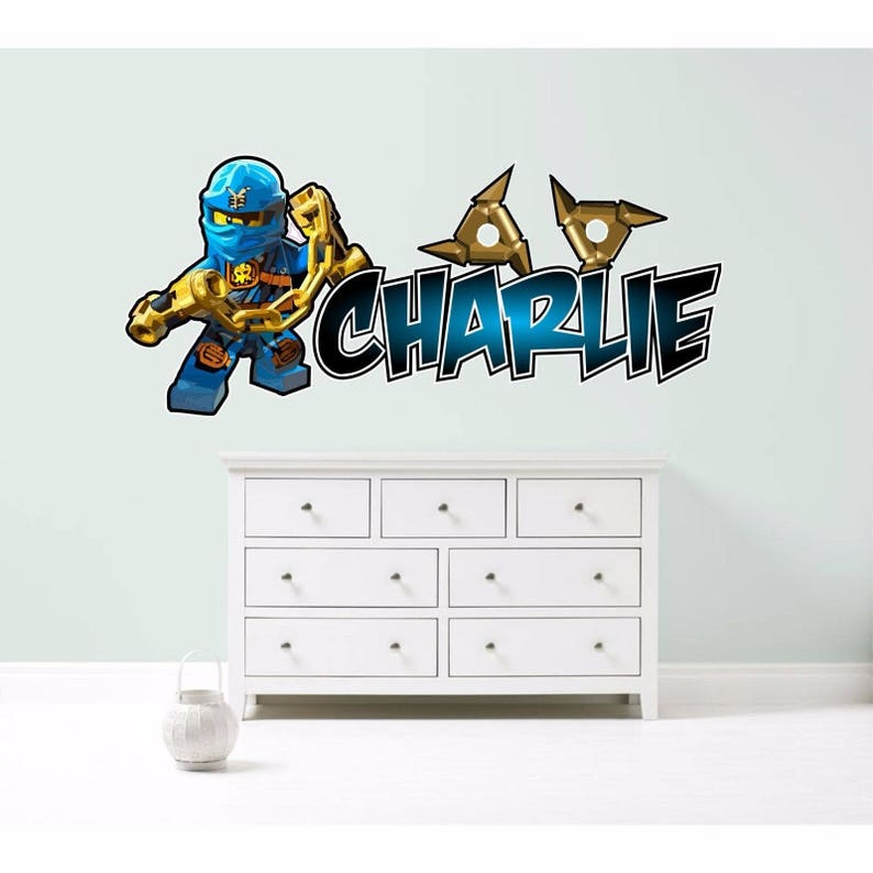 Fantastic Lego Ninjago Jay Blue Personalised Wall Sticker Decal Childrens Boys Bedroom Art Graphic Mural Customised Download Free Architecture Designs Scobabritishbridgeorg