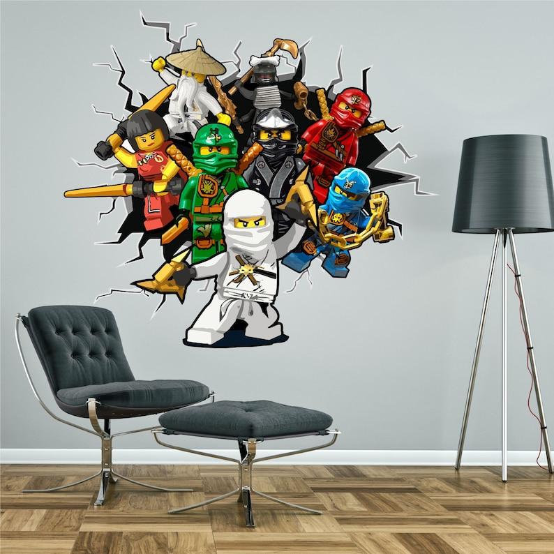 Chambre Wall Sticker Ninjago Rupture Murale Lego Travers Graphique Enfant À Effet 3d Tableau Garçon QCrshdt