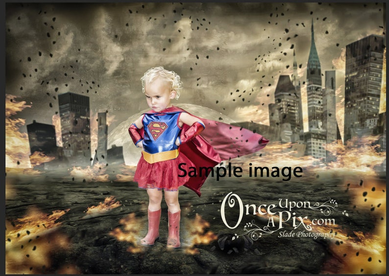 Superhero Scorched City Digital Background, Great for Photographers Looking  for Whimsical Backgrounds