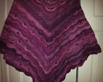 Adult Crocheted multi-colored (pink-lavender) shawl.