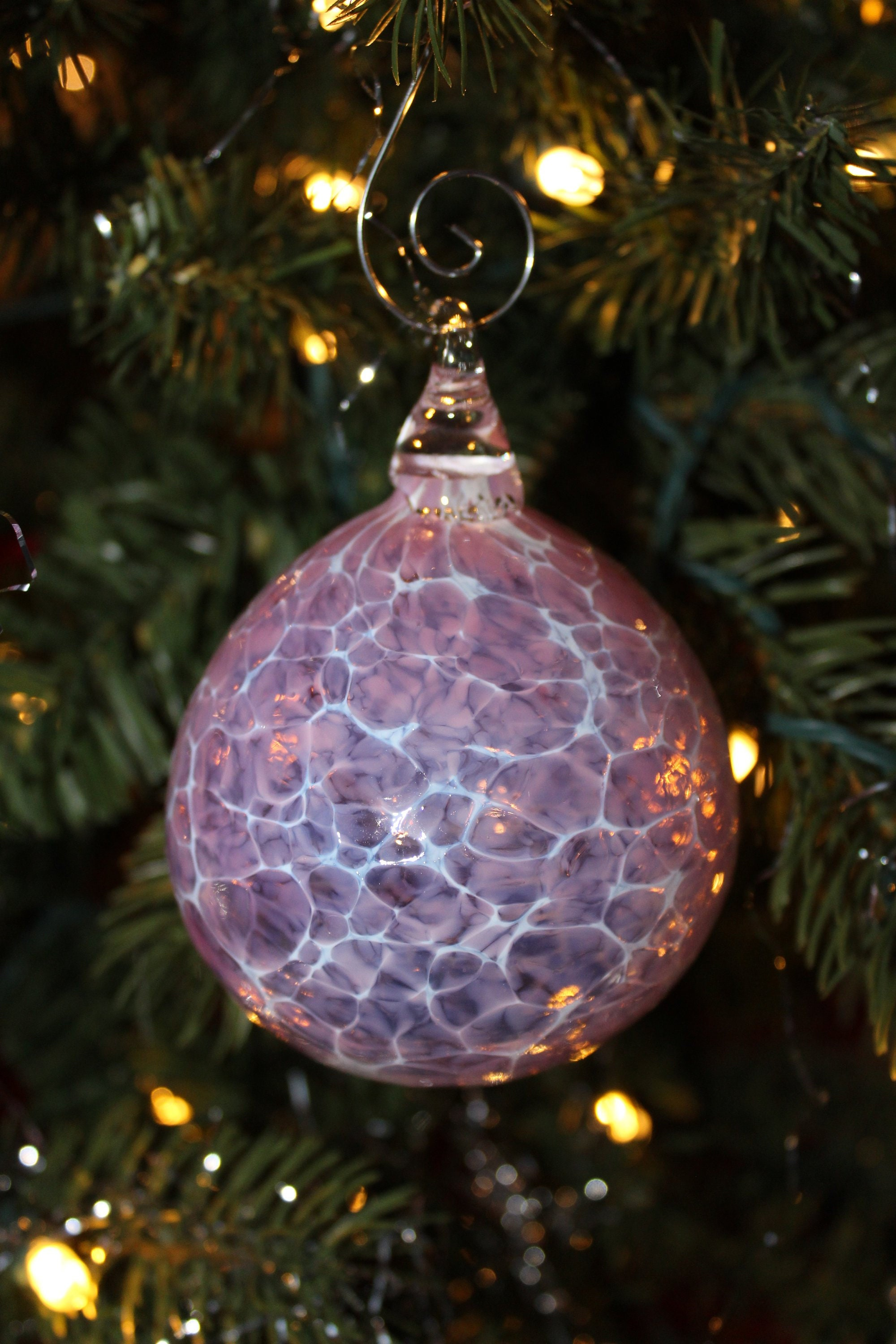 Clearance 50 Off Retail Hand Blown Glass Ornament Pink And White