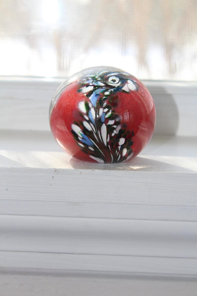 M Design Art Glass Mouth Blown Ruby Lovely Heart Handmade  Paperweight Pw...