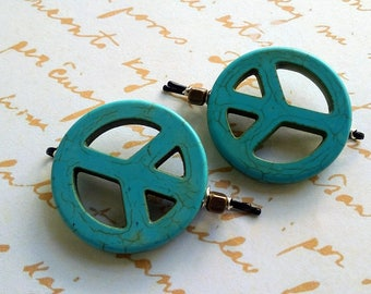 Genuine Turquoise Peace Sign Set of Two Beaded Bobby Pins