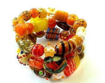 Colorful Wrap Bracelet, Memory Wire Bracelet, Glass Beaded Wrap Bracelet