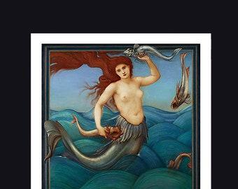 Beautiful Vintage Mermaid Print. Victorian Sea Siren Wall Art, Venus Prints, Giclee Print
