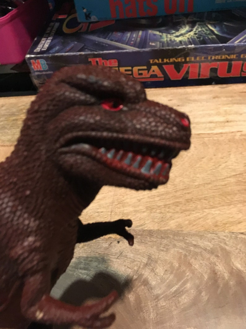 Vintage 90/'s Red and Brown T-Rex Tyrannosaurus Rex 90/'s Awesome Nostalgia Made in China Dinosaur Figure  Cake Topper