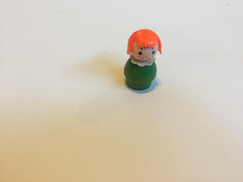 Blonde Girl Little People Figure Vintage Fisher Price Little People Figure 1960/'s 70/'s Fisher Price Red Haired Girl Green Dress