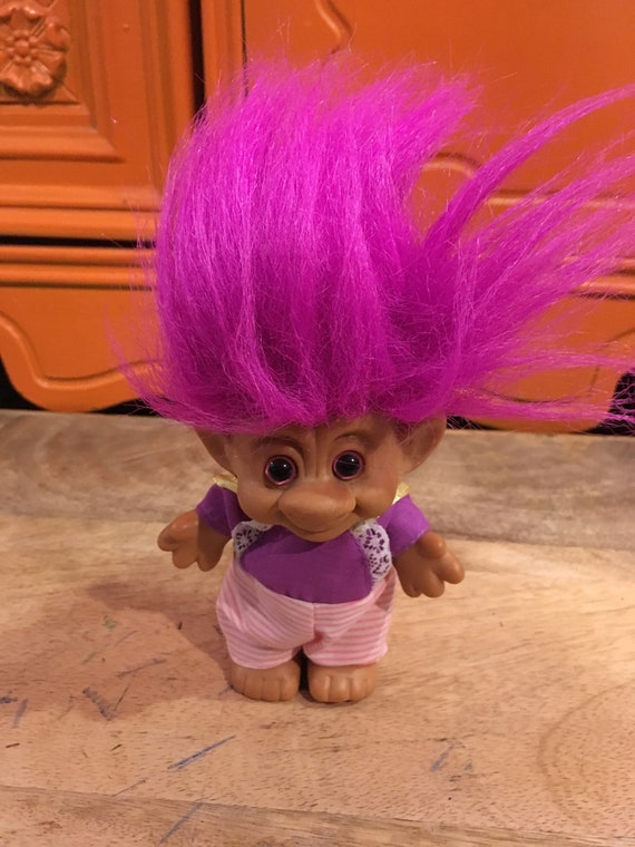Rare Vintage 90/'s Troll Doll Vintage Trolls Nostalgia Purple Shirt  Pink Pants Themed Vintage Pink Haired Troll
