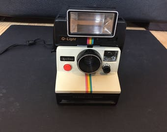 Vintage Rare Polaroid One Step SX-70 White + Rainbow Stripe with Q Light Untested but in Great Shape