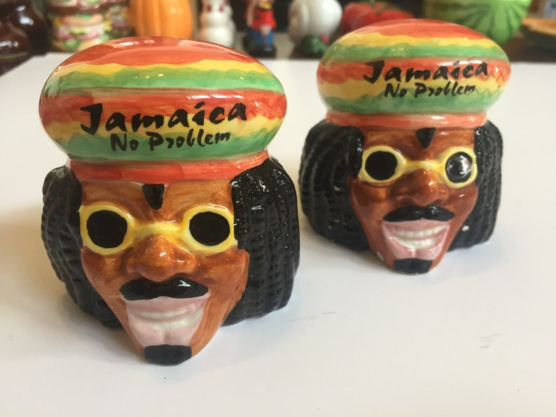 Reggae Nostalgia Ceramic Salt Shakers Vintage Rastafarian Jamaican Salt and Pepper Shakers