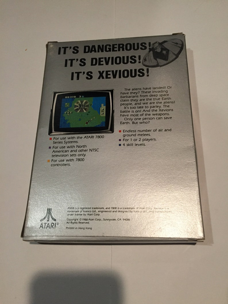 Complete in Original Box Rare Vintage Video Game Collectible Vintage 1980s Atari 7800 Video Game System XEVIOUS