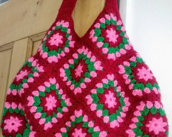 Beautiful hand crocheted boho granny square hand bag