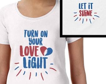Grateful Dead Shirt - Ladies' - Turn On Your Love Light lyrics - Women's Short Sleeved T-Shirt, Graphic Tee, Lightning Bolt Heart, Boho