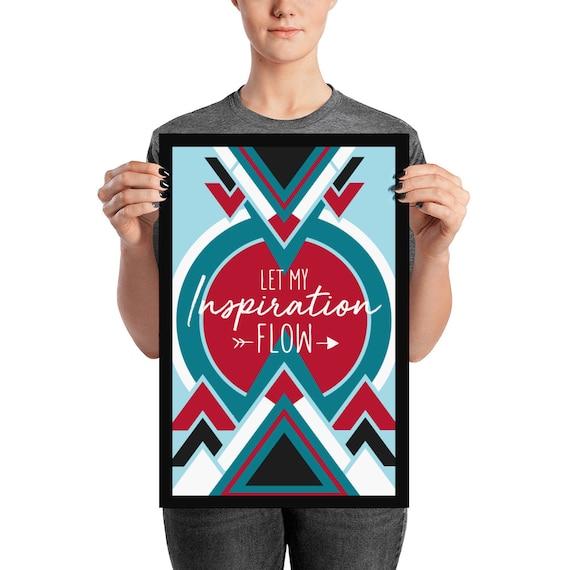 Vibrating with Love and Light blue geometric design triangles boho Phish Poster FRAMED Art Print More lyrics red black
