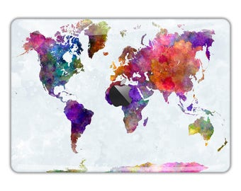 Macbook pro world map decal etsy macbook air skin macbook pro skin macbook skin macbook pro 13 skin macbook pro decal macbook sticker world map watercolor travel fs321 gumiabroncs Choice Image