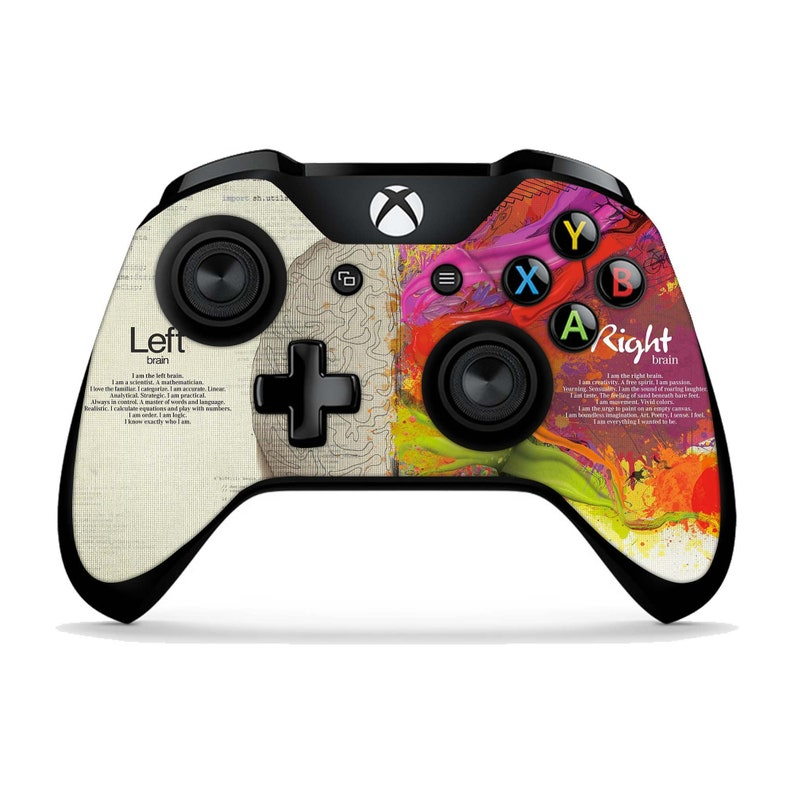 Left And Right Brain Xbox One X Skins Xbox One S Stickers Xbox One Elite Xbox 360 Art Vinyl Skin Sticker Painting Controller Remote Xbc085