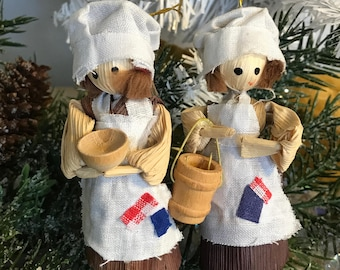 Scandinavian Straw Sisters Christmas Ornament