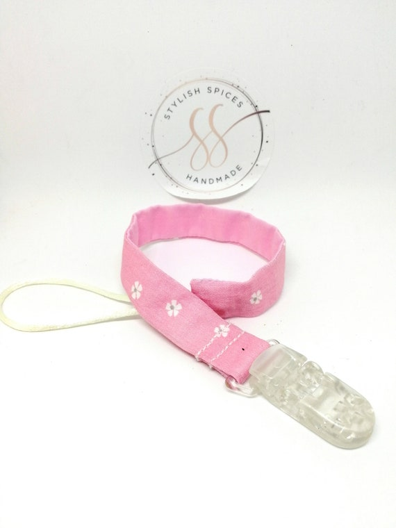 Dummy Clip for Girls Boys - Perfect Baby Gift. White Ribbon /& White Flower Stone Soother Holder Strap for Baby