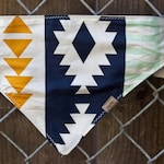 The Aztec dog bandana, aztec bandana, southwestern bandana, tribal dog bandana, tribal bandana, tribal print, snap on dog bandana, canvas