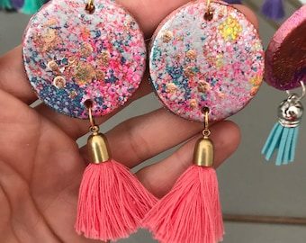 Pastel princess circle drop earring with beoght pink tassel and rose fold embellishment -technicolor sweetheart collection