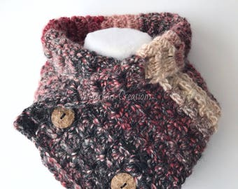 Ladies button cowl | winter button cowl | ladies crochet cowl | 2 button cowl | ladies button scarf | button cowl crochet | ladies scarf