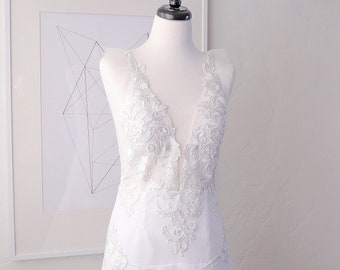 Organza and lace wedding gown