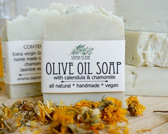 Olive Oil Soap with Calendula and Chamomile, extra vergin Greek olive oil soap, for sensitive skin, 100% natural, handmade soap,