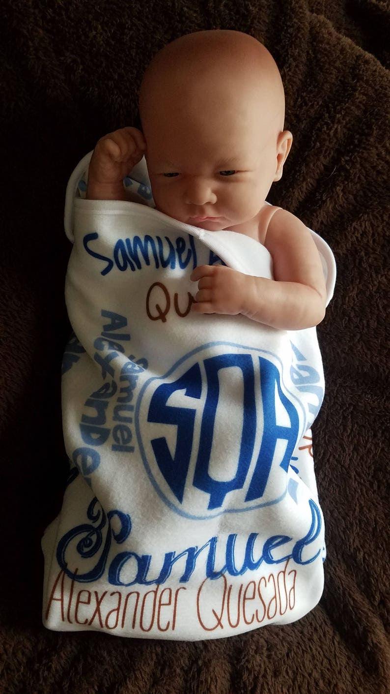 Personalized Baby Blanket,Monogrammed Baby Blanket Baby Shower Gift Custom Blanket