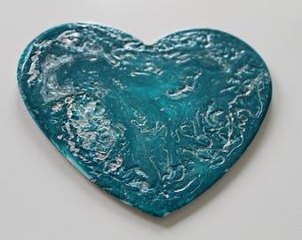 Teal and silver Heart