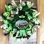 St. Patricks Day Wreath, Happy St.Patrick's Day Wreath, Green Leprechaun St. Patrick's Day wreath, Green, Black, White and Gold Wreath