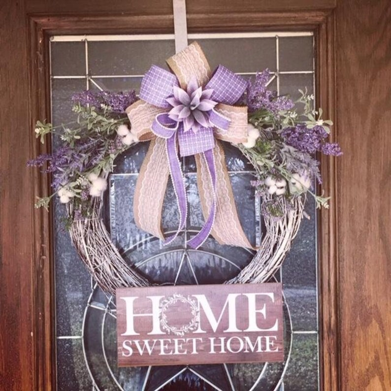 Rustic Home Sweet Home Wreath Lavender and cream Home Sweet image 0