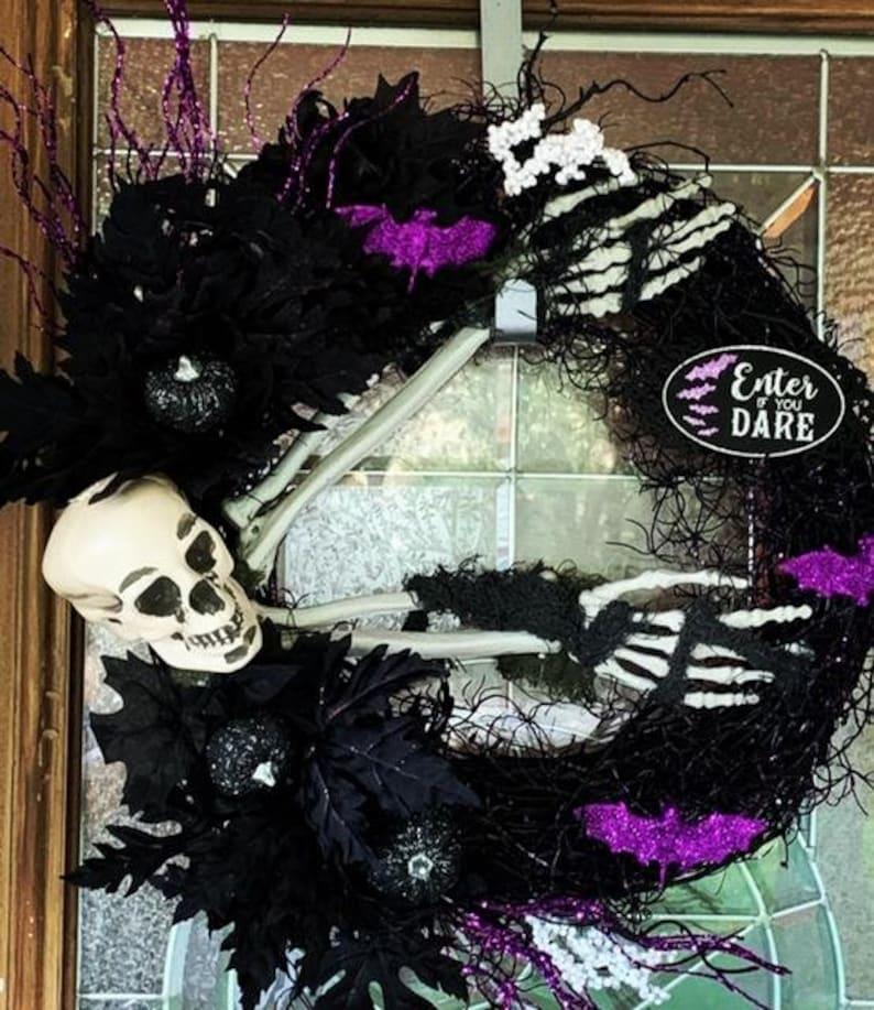 Halloween Skelton Wreath  Purple and Black Halloween Wreath image 0