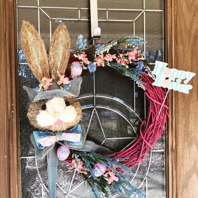 Easter Bunny Grapevine wreath Hoppy Easter Pink and Blue image 0