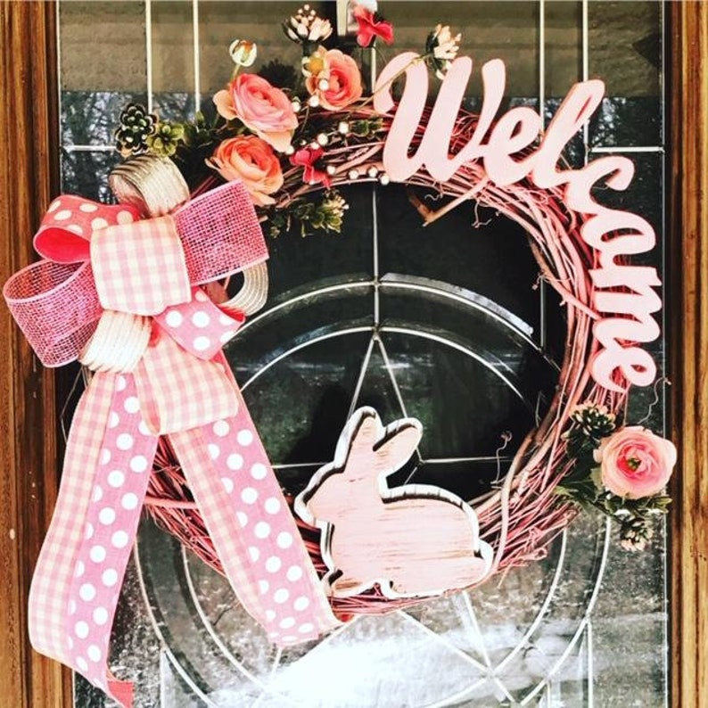 Pink Spring Grapevine Wreath Welcome Pink Easter Wreath image 0
