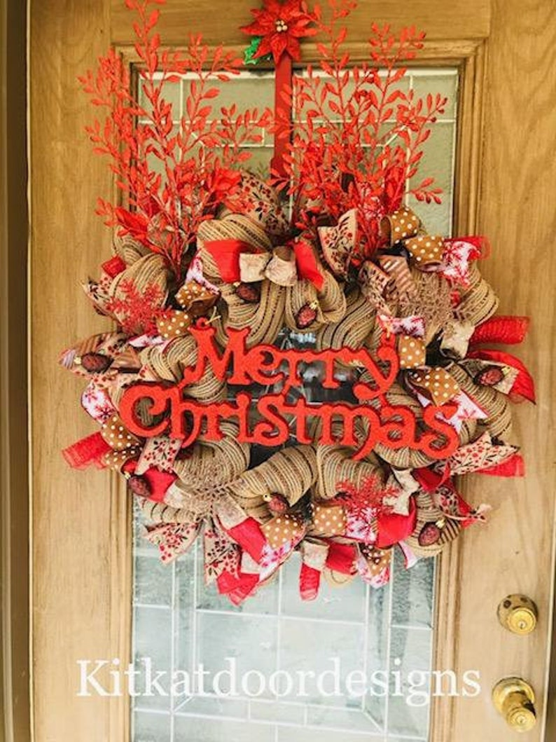 Merry Christmas Wreath Large Rustic Merry Christmas Wreath image 0