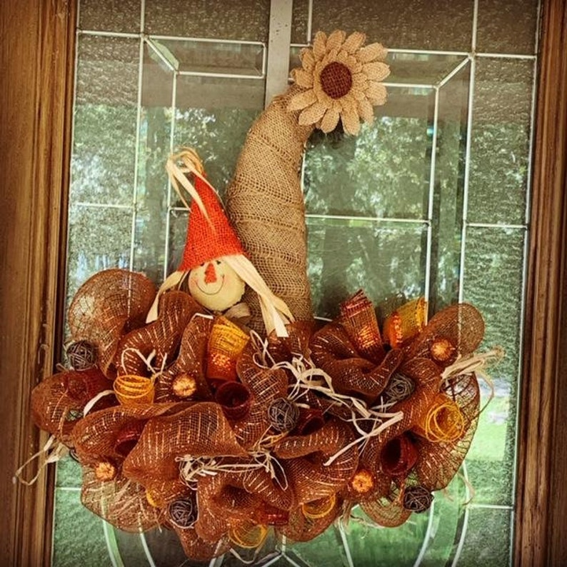 Cute Fall Scarecrow Hat Wreath Fall Hat Wreath Rustic Fall image 0