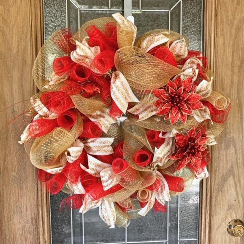 Beautiful Red and Golden Poinsettia Christmas Wreath image 0