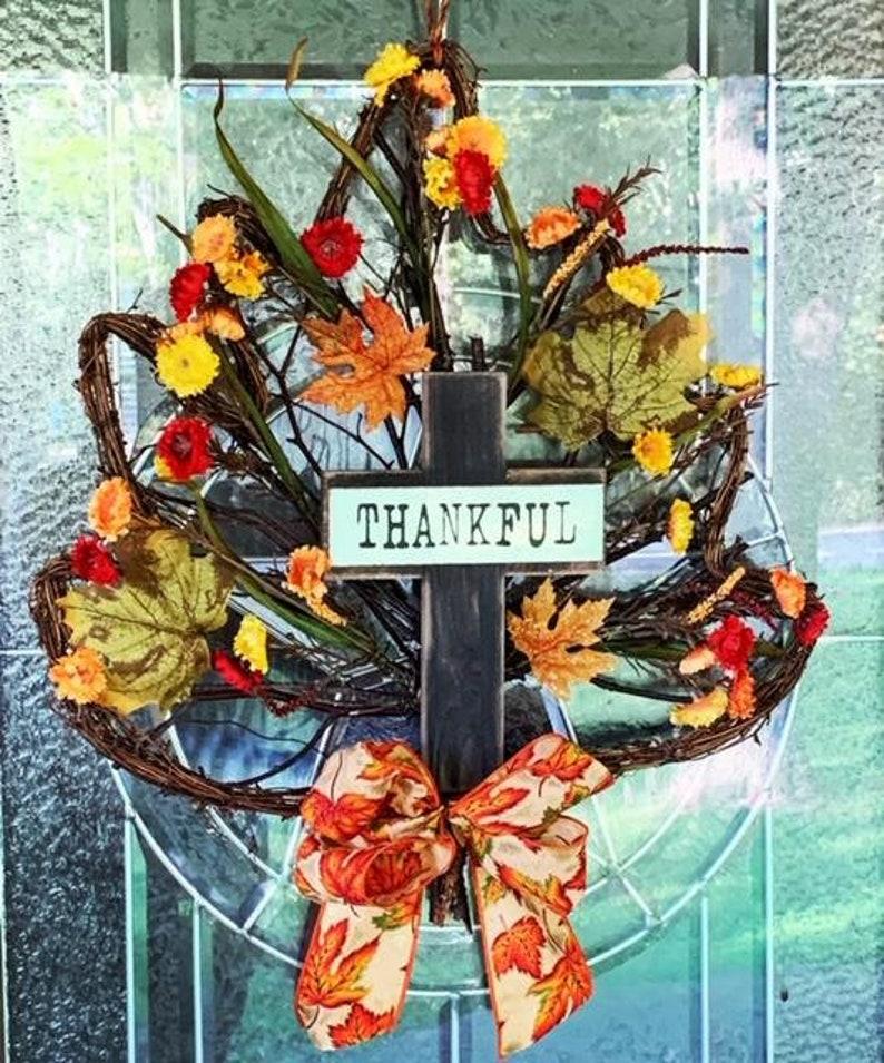 Thankful Fall Leaf wreath Unique rustic leaf wreath Rustic image 0