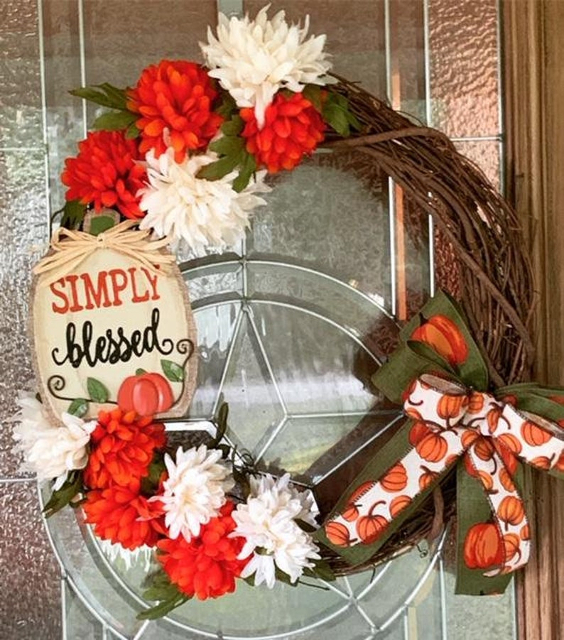 Simply Blessed Fall Colors Wreath Fall Colors Grapevine image 0