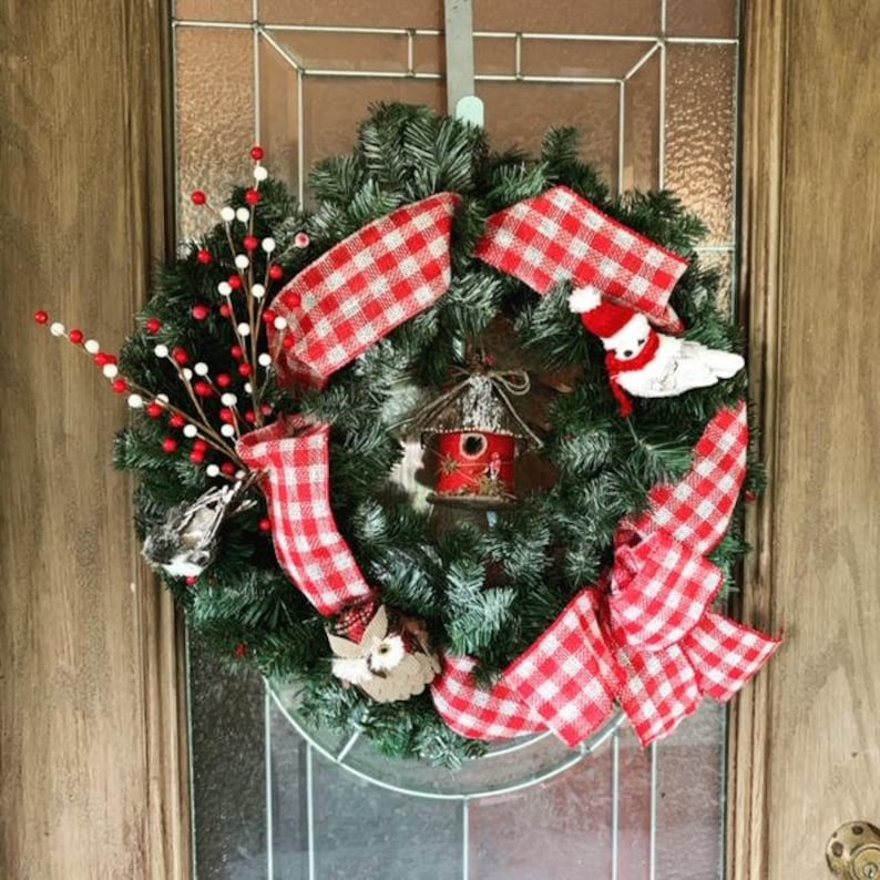 Evergreen Christmas Birdhouse Wreath Evergreen Farmhouse image 0