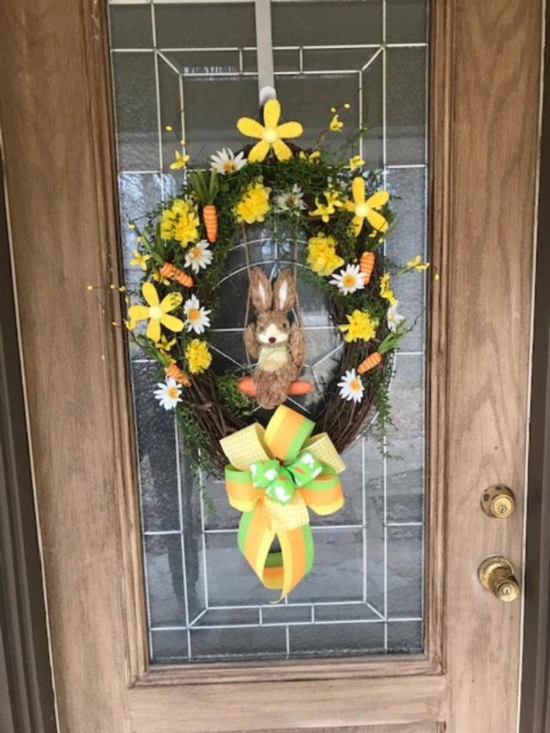 Swinging Bunny Spring Easter Wreath Large grapevine Easter image 0