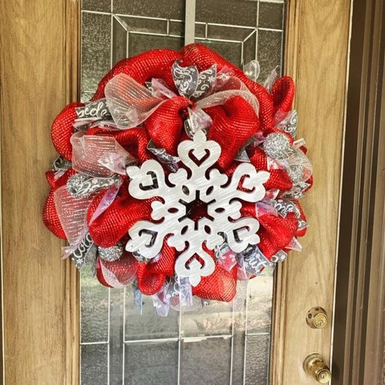 Christmas Winter Snowflake Wreath Red White Silver and Gray image 0