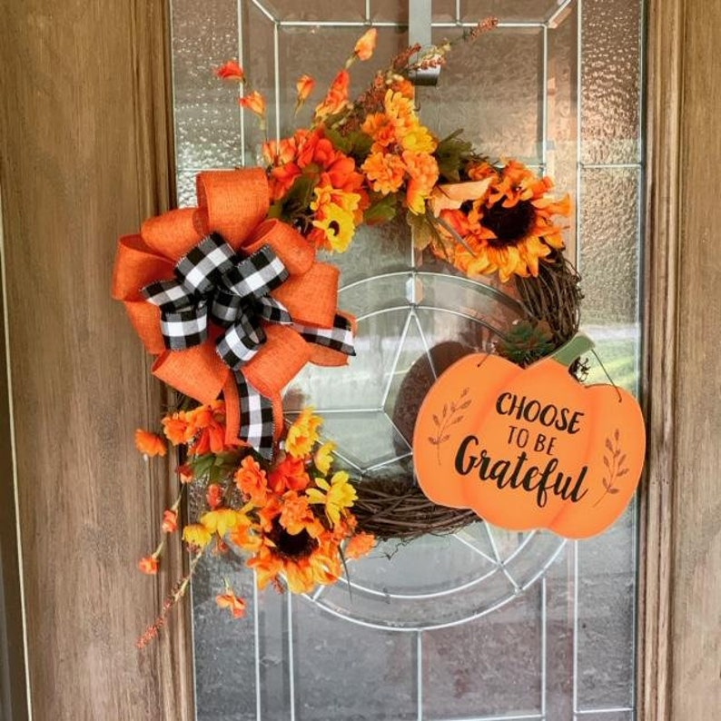 Choose to be Grateful Fall wreath Rustic Fall Grapevine image 0
