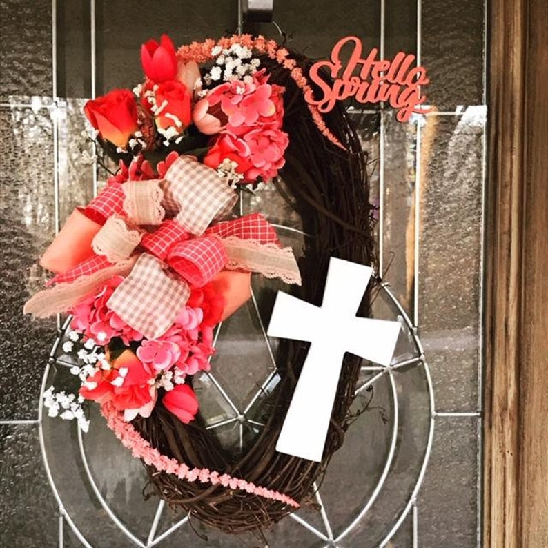 Hello Spring Cross Grapevine Wreath Spring Coral Faith image 0