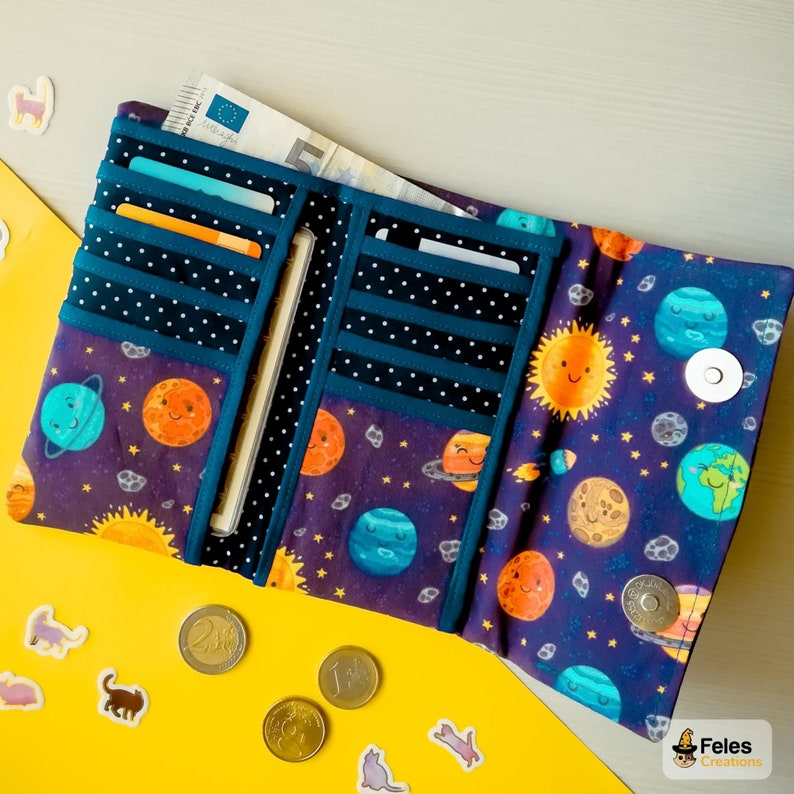 Kawaii wallet themed Smiling planets Cotton earth: for money sun Made in Italy. with lots of pockets cards and documents