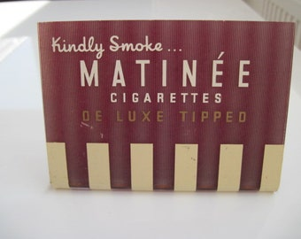 Matinee De Luxe Tipped cigarettes advertising sign c. 1950/60