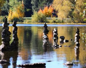 Rock Stacks on Green Lake in Seattle, WA