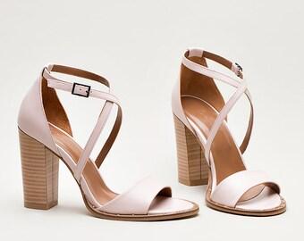 High Heel Sandals/ Women Genuine Leather Sandals / Handmade Sandals in Pink Bianki SS'18